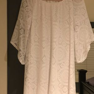 White lace dress with flare sleeves